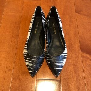 Marc Fisher Black & White Point Toe Flats